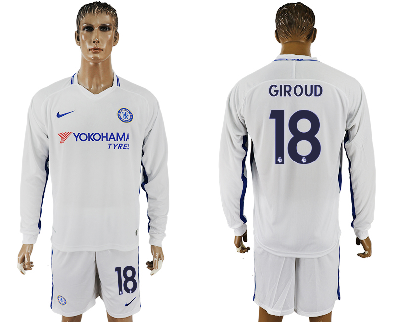 Men 2017-2018 club Chelsea away Long sleeve 18 white soccer jersey