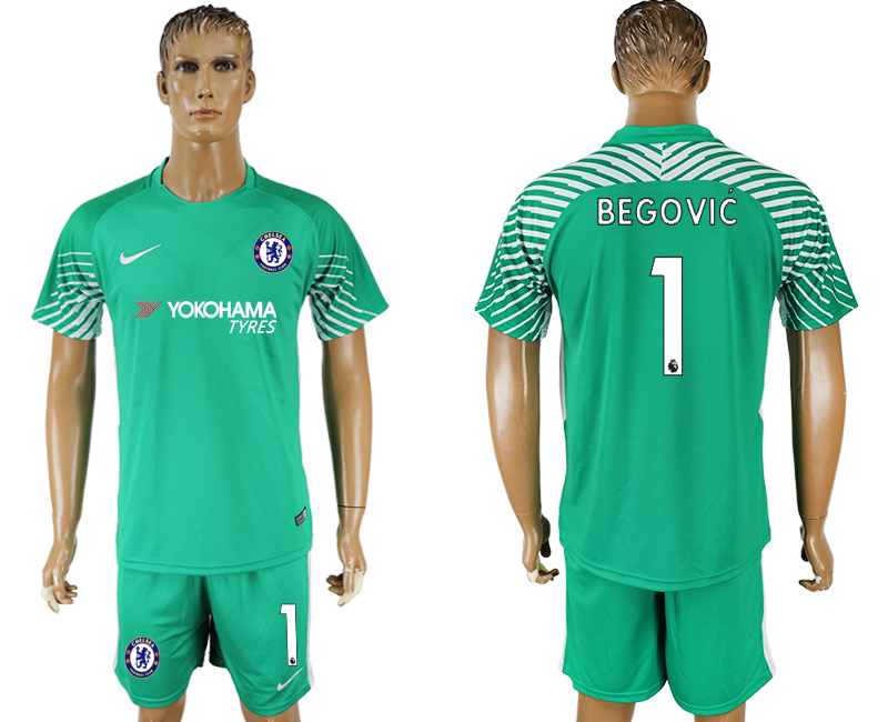 Men 2017-2018 club Chelsea green goalkeeper 1 soccer jersey