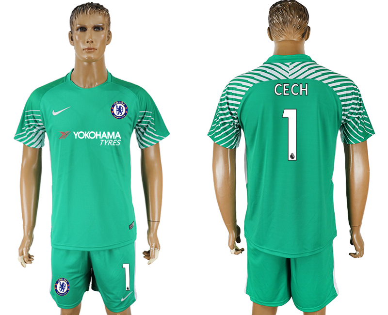 Men 2017-2018 club Chelsea green goalkeeper 1 soccer jersey1