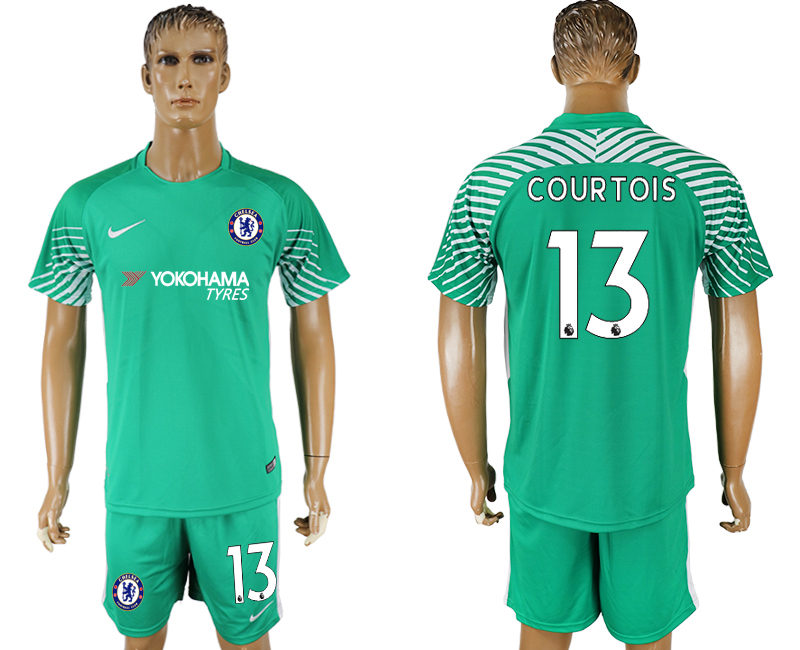 Men 2017-2018 club Chelsea green goalkeeper 13 soccer jersey