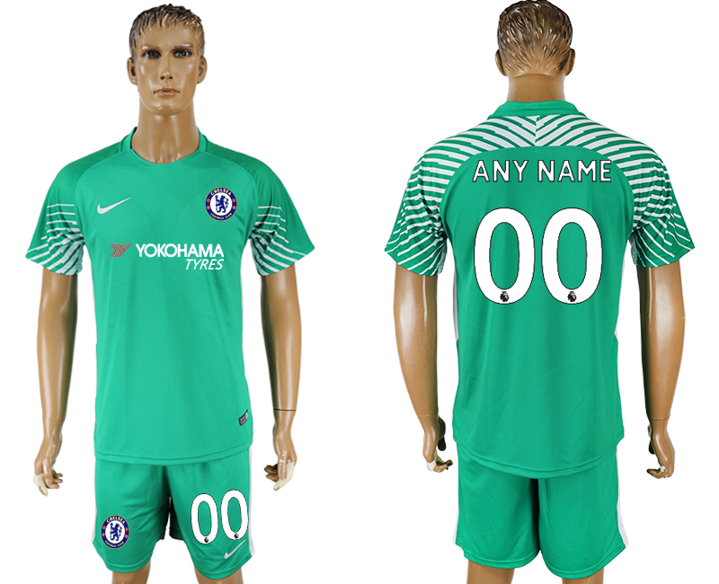 Men 2017-2018 club Chelsea green goalkeeper customized soccer jersey