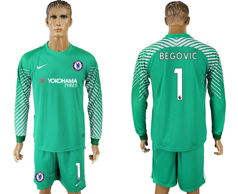 Men 2017-2018 club Chelsea green goalkeeper long sleeve 1 soccer jersey