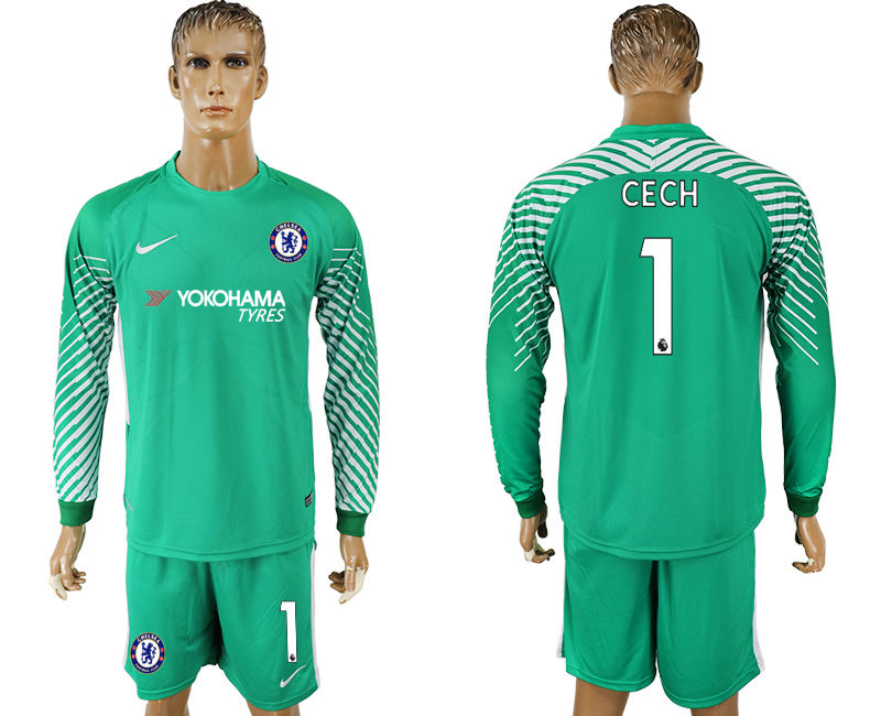 Men 2017-2018 club Chelsea green goalkeeper long sleeve 1 soccer jersey1