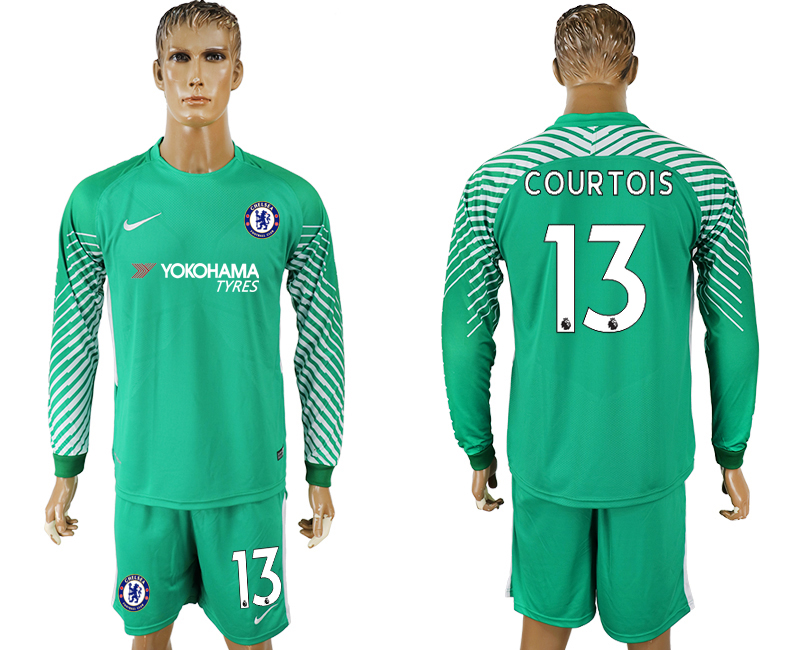 Men 2017-2018 club Chelsea green goalkeeper long sleeve 13 soccer jersey