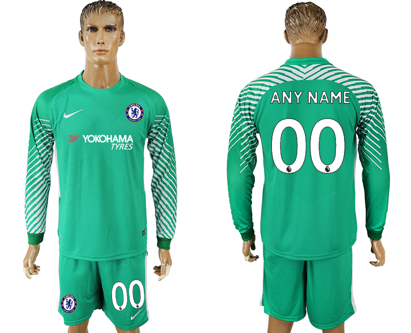 Men 2017-2018 club Chelsea green goalkeeper long sleeve customized soccer jersey