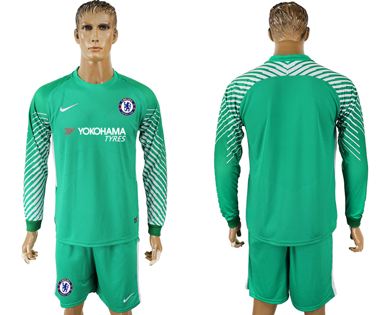 Men 2017-2018 club Chelsea green goalkeeper long sleeve soccer jersey