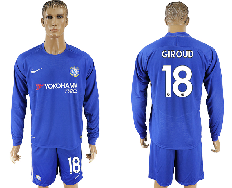 Men 2017-2018 club Chelsea home Long sleeve 18 blue soccer jersey