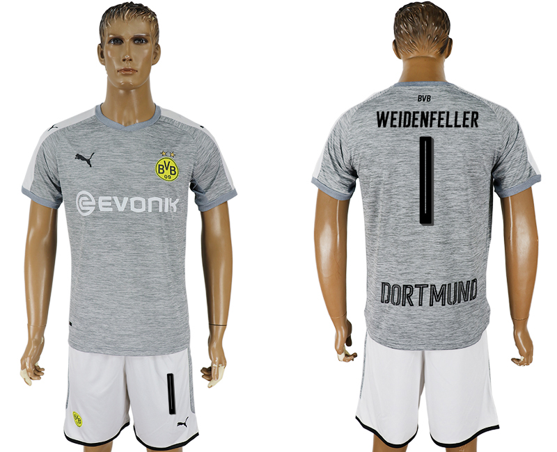 Men 2017-2018 club Dortmund champions league away 1 grey soccer jersey