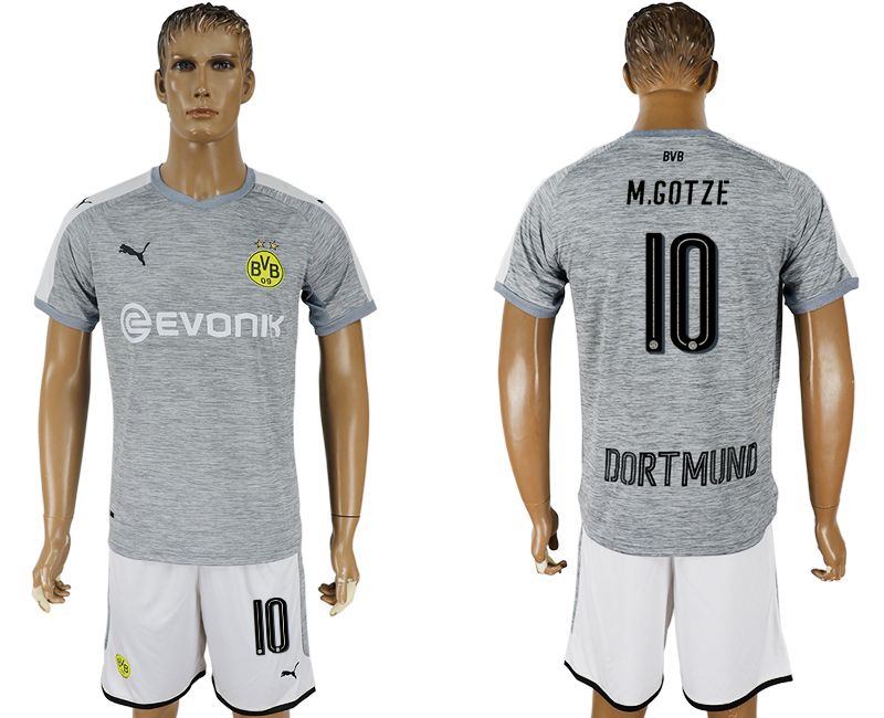 Men 2017-2018 club Dortmund champions league away 10 grey soccer jersey