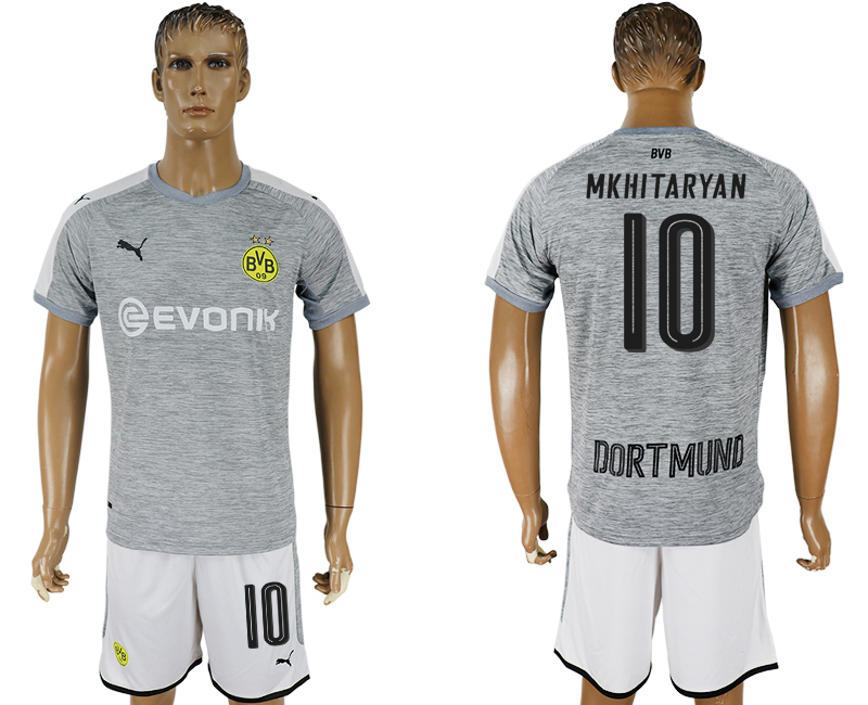 Men 2017-2018 club Dortmund champions league away 10 grey soccer jersey1
