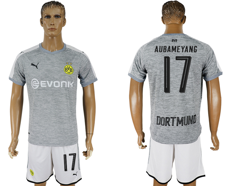 Men 2017-2018 club Dortmund champions league away 17 grey soccer jersey