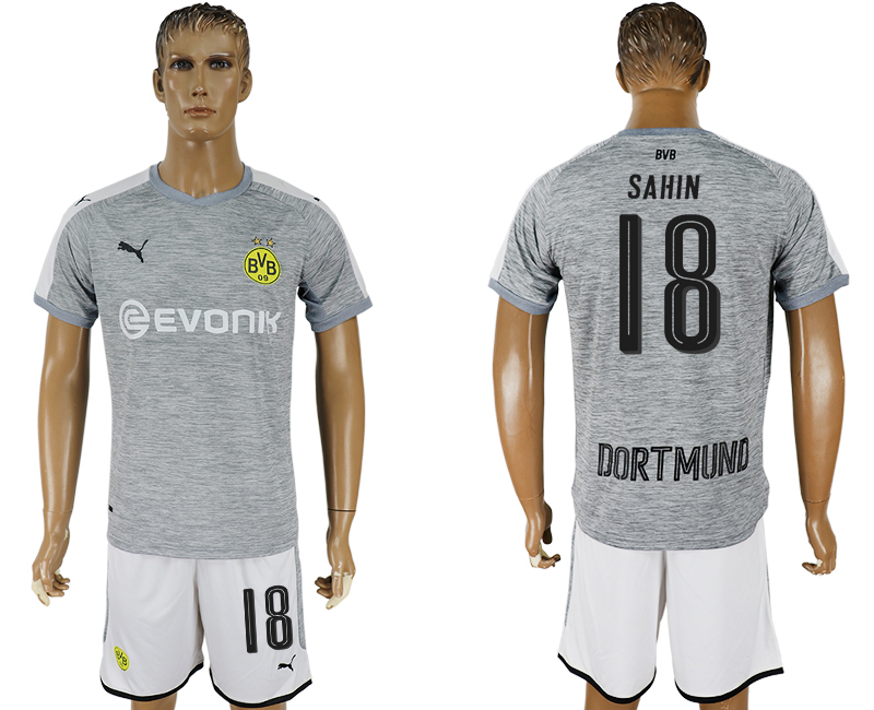 Men 2017-2018 club Dortmund champions league away 18 grey soccer jersey