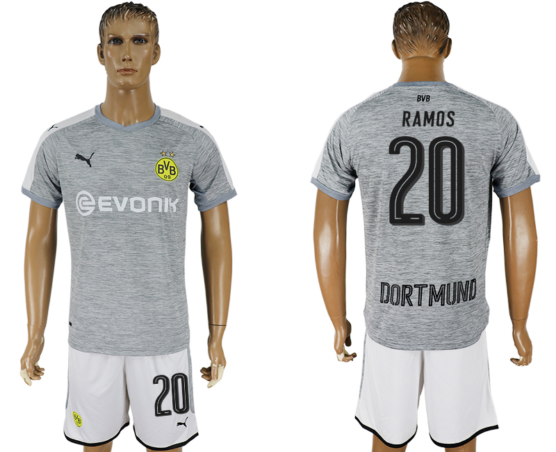 Men 2017-2018 club Dortmund champions league away 20 grey soccer jersey