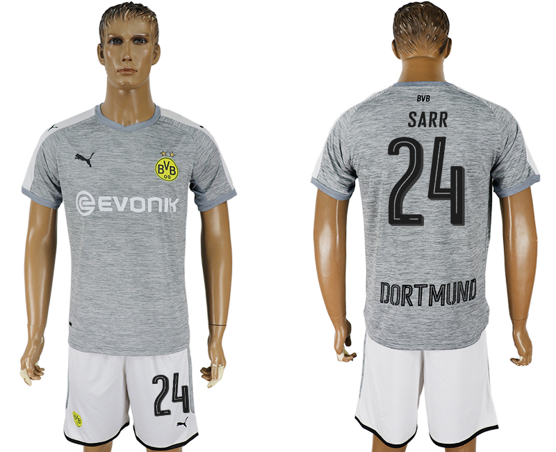 Men 2017-2018 club Dortmund champions league away 24 grey soccer jersey