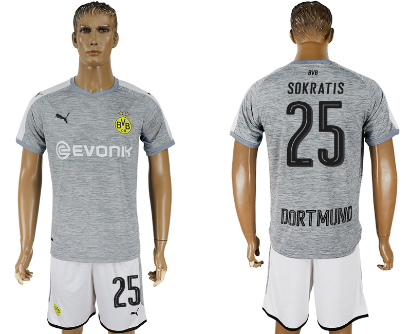 Men 2017-2018 club Dortmund champions league away 25 grey soccer jersey