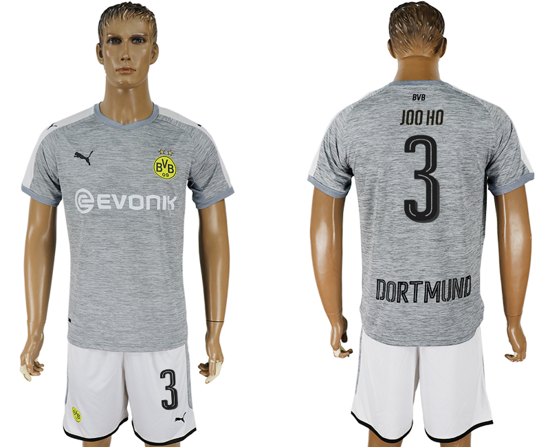 Hommes 2017-2018 club Dortmund champions league away 3 gris football jersey