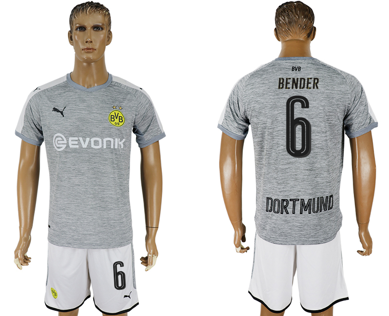 Men 2017-2018 club Dortmund champions league away 6 grey soccer jersey