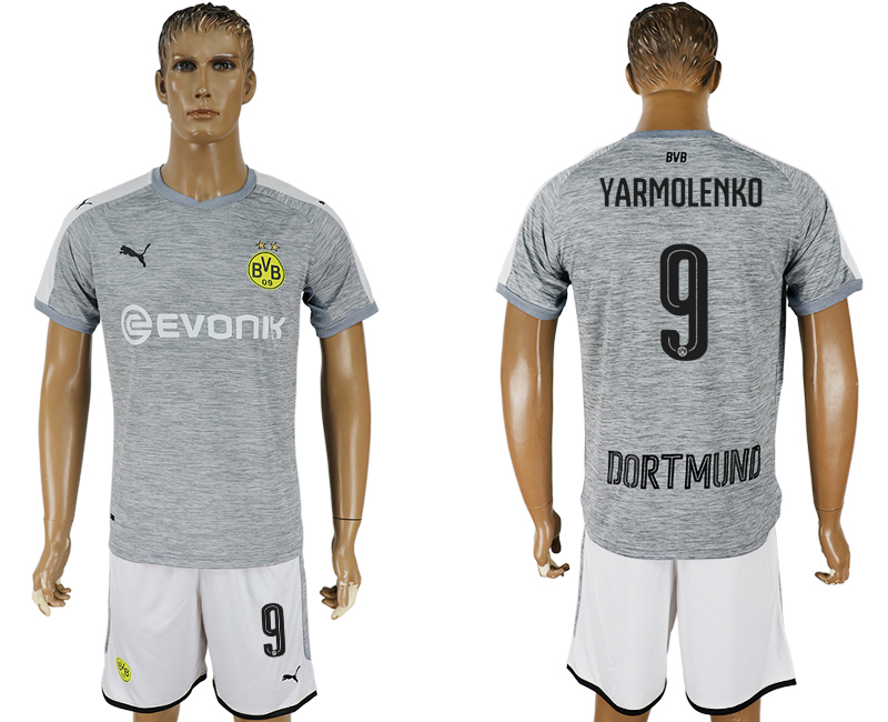 Men 2017-2018 club Dortmund champions league away 9 grey soccer jersey