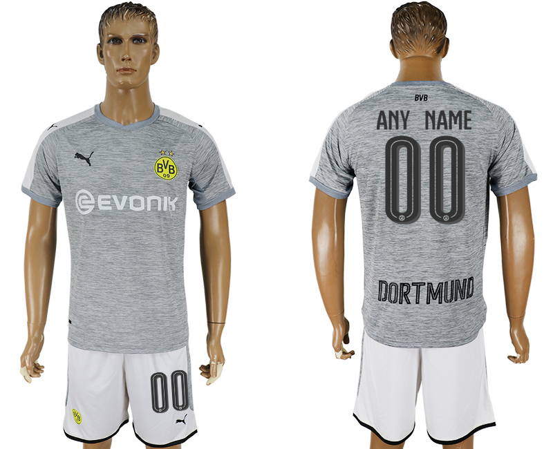 Men 2017-2018 club Dortmund champions league away customized grey soccer jersey
