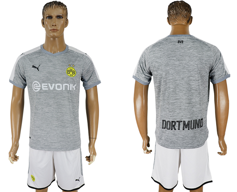 Men 2017-2018 club Dortmund champions league away grey soccer jersey