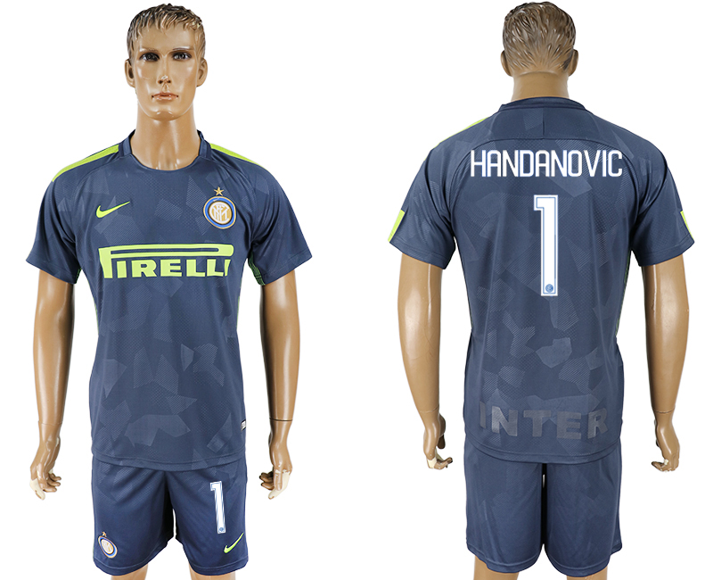 Men 2017-2018 club Inter Milan Third 1 blue soccer jersey