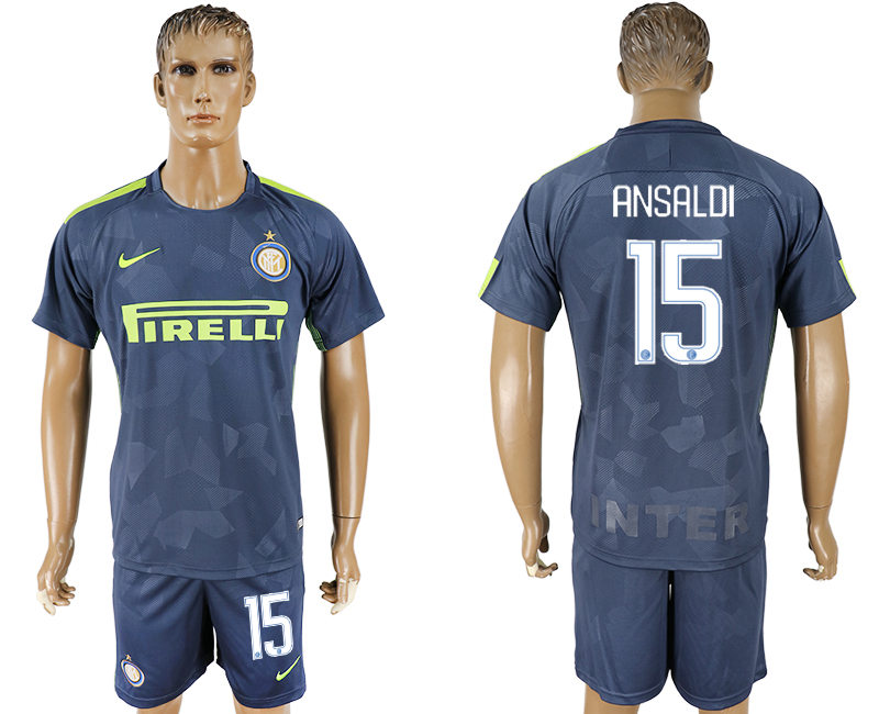 Men 2017-2018 club Inter Milan Third 15 blue soccer jersey