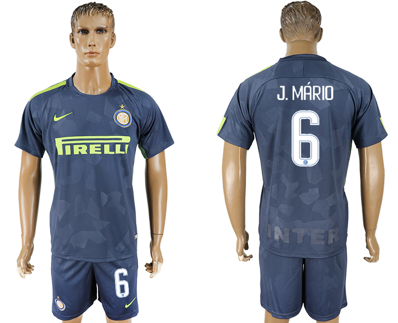 Men 2017-2018 club Inter Milan Third 6 blue soccer jersey