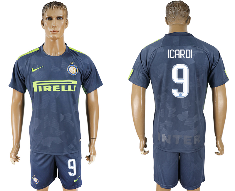 Men 2017-2018 club Inter Milan Third 9 blue soccer jersey