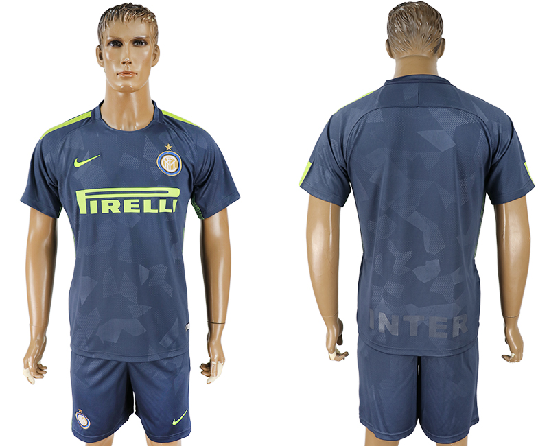 Men 2017-2018 club Inter Milan Third blank blue soccer jersey