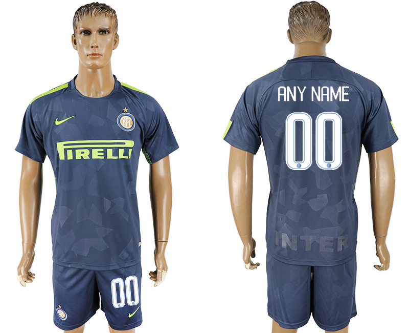 Men 2017-2018 club Inter Milan Third customized blue soccer jersey