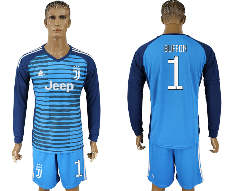 Men 2017-2018 club Juventus Lake blue goalkeeper long sleeve 1 soccer jersey
