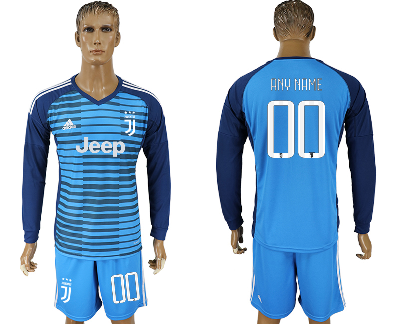 Men 2017-2018 club Juventus Lake blue goalkeeper long sleeve customized soccer jersey