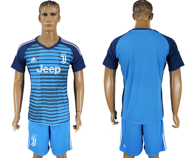 Men 2017-2018 club Juventus Lake blue goalkeeper soccer jersey