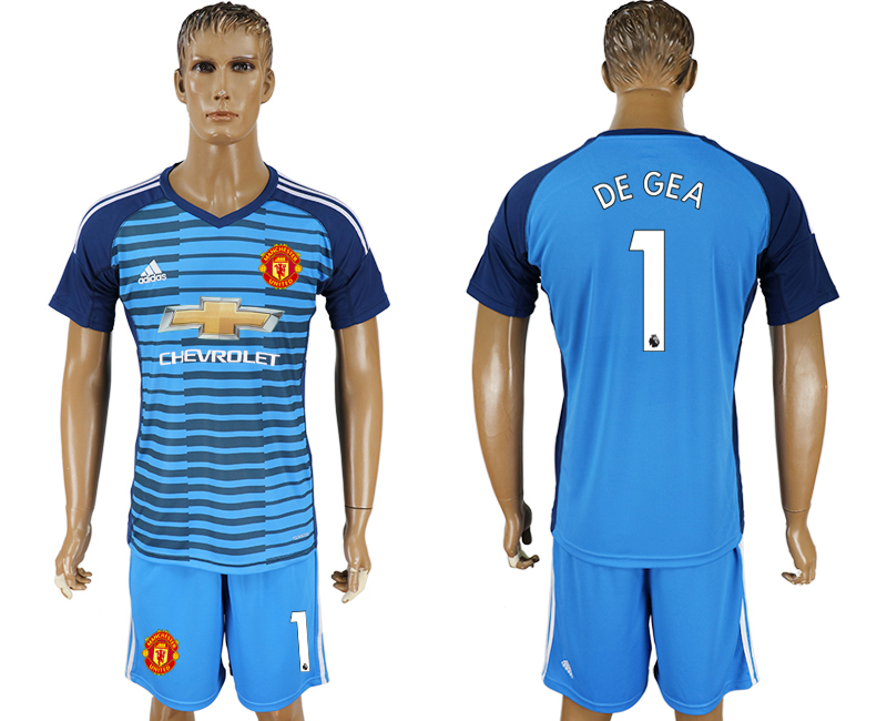 Men 2017-2018 club Manchester united Lake blue goalkeeper 1 soccer jersey