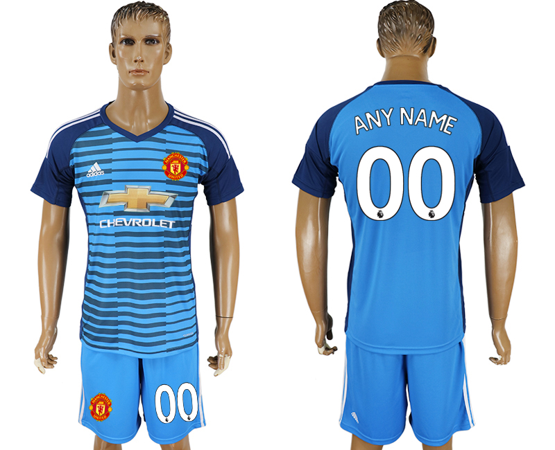 Men 2017-2018 club Manchester united Lake blue goalkeeper customized soccer jersey