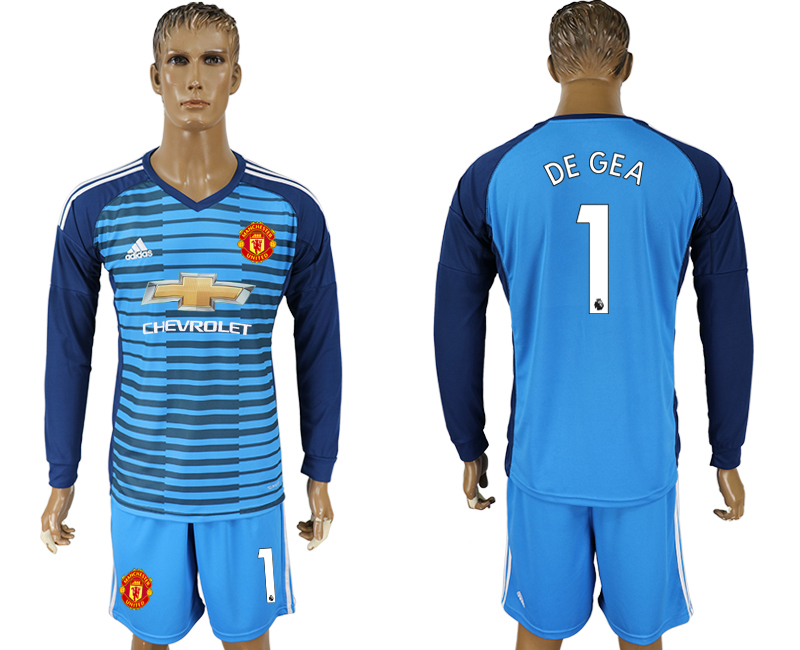 Men 2017-2018 club Manchester united Lake blue goalkeeper long sleeve 1 soccer jersey
