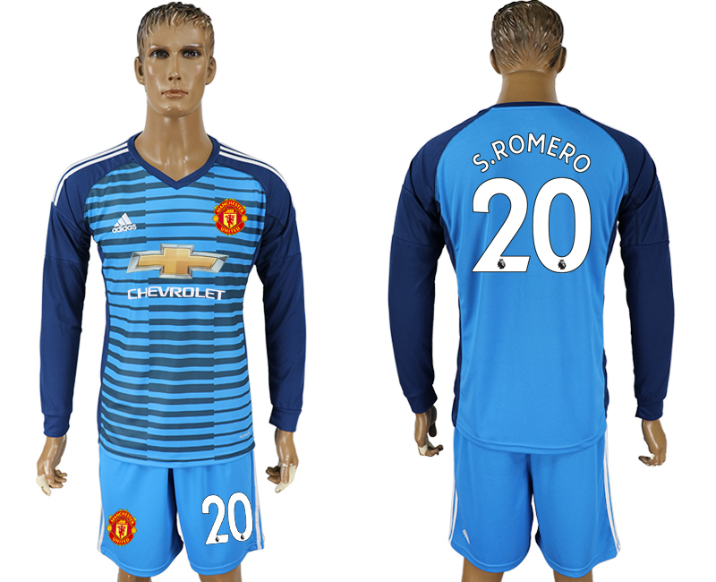 Men 2017-2018 club Manchester united Lake blue goalkeeper long sleeve 20 soccer jersey