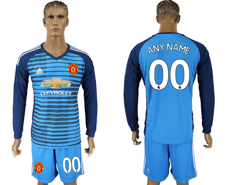 Men 2017-2018 club Manchester united Lake blue goalkeeper long sleeve customized soccer jersey