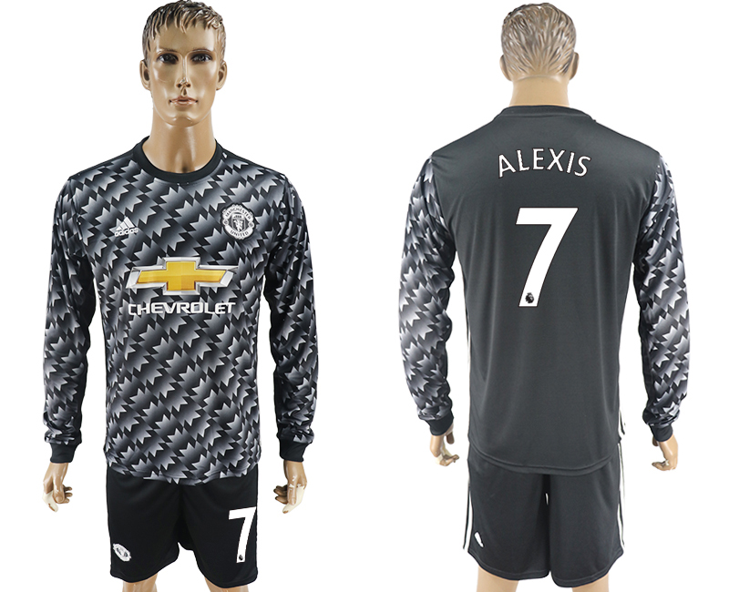 Men 2017-2018 club Manchester united away long sleeve 7 black soccer jersey