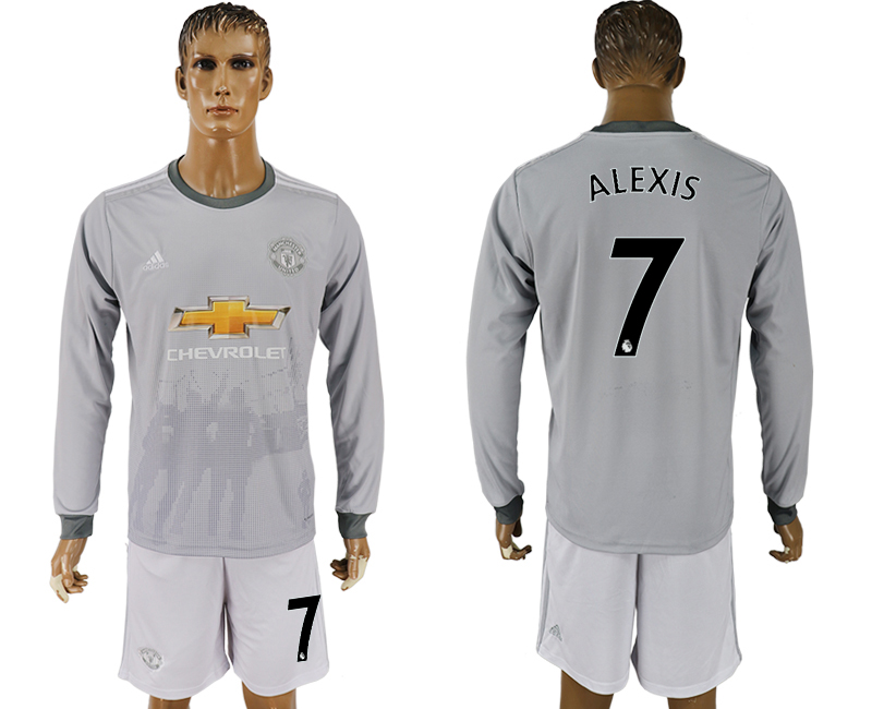 Men 2017-2018 club Manchester united away long sleeve 7 grey soccer jersey