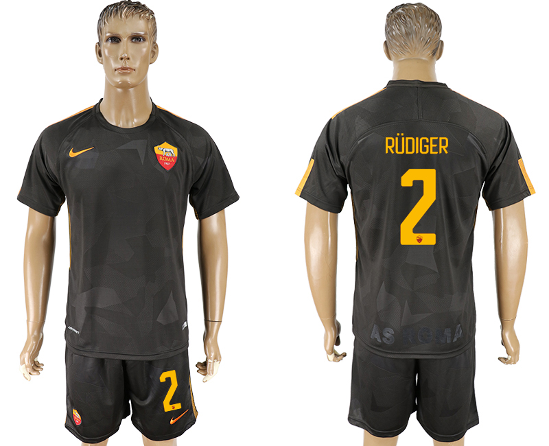 Men 2017-2018 club Rome away 2 black soccer jersey