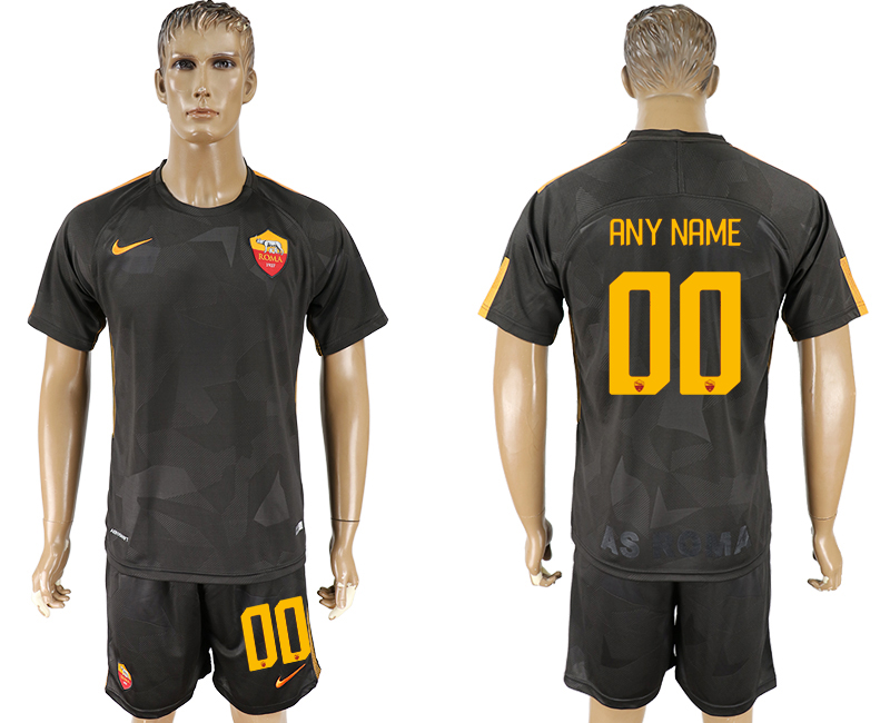 Men 2017-2018 club Rome away customized black soccer jersey