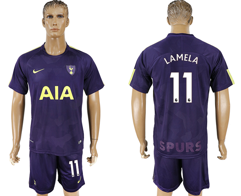 Men 2017-2018 club Tottenham Hotspur away 11 blue soccer jersey