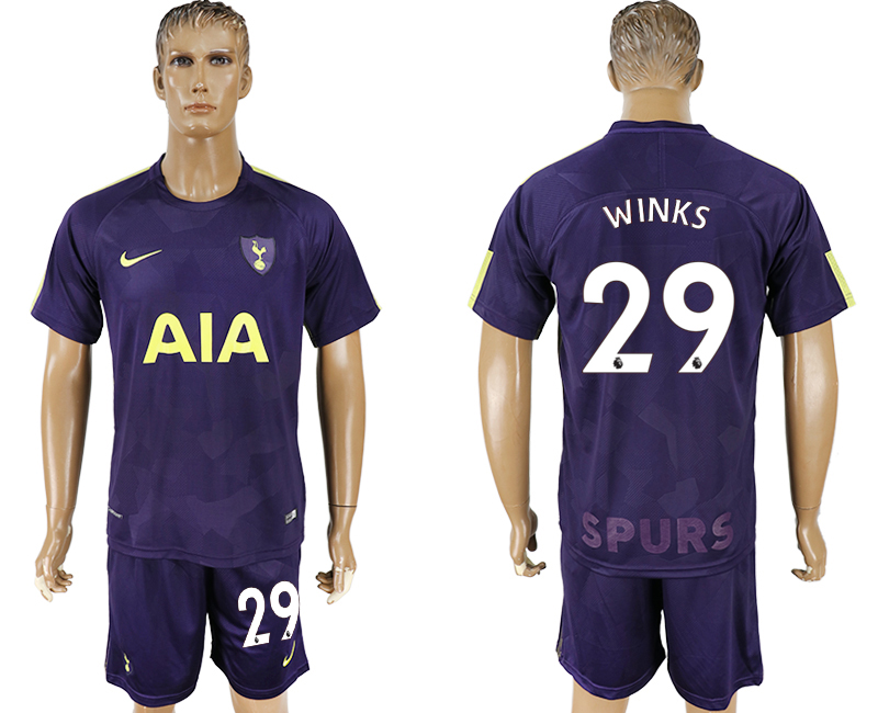 Men 2017-2018 club Tottenham Hotspur away 29 blue soccer jersey