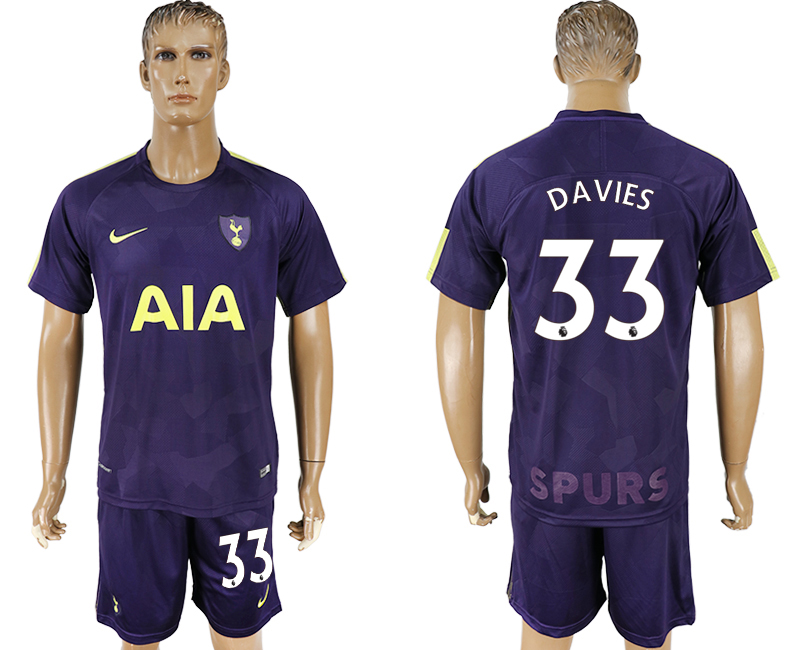Men 2017-2018 club Tottenham Hotspur away 33 blue soccer jersey