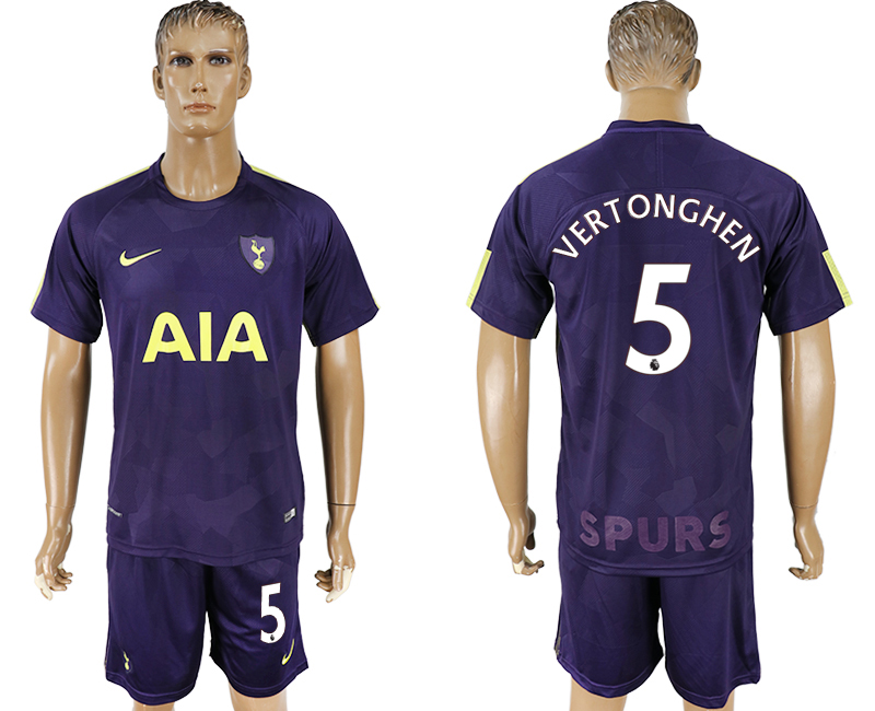 Men 2017-2018 club Tottenham Hotspur away 5 blue soccer jersey