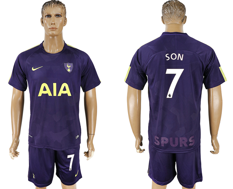 Men 2017-2018 club Tottenham Hotspur away 7 blue soccer jersey