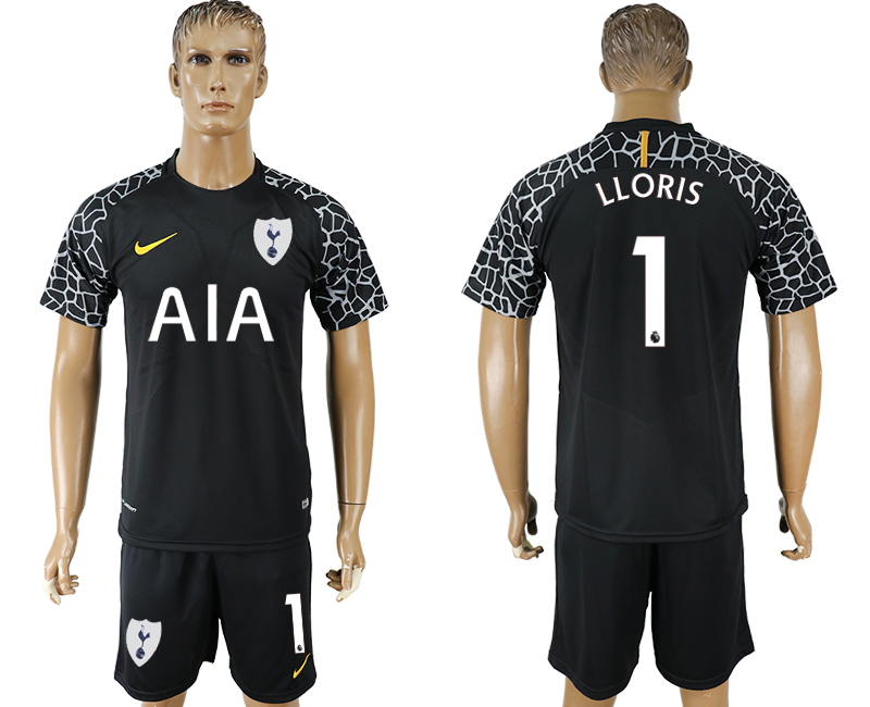 Men 2017-2018 club Tottenham Hotspur black goalkeeper 1 soccer jersey