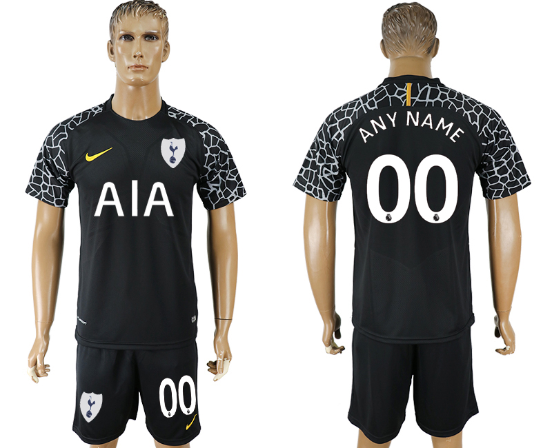 Men 2017-2018 club Tottenham Hotspur black goalkeeper customized soccer jersey