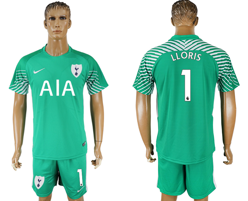 Men 2017-2018 club Tottenham Hotspur green goalkeeper 1 soccer jersey